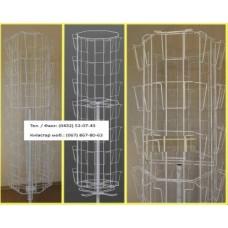 Вертушка для листівок 56 місць, біла + 4 гачка для пакетів